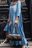 Bomshe Fold Design Loose Baby Blue Maxi Denim Dresses