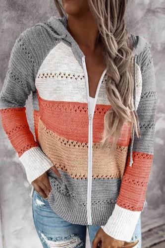 Bomshe Hooded Collar Patchwork Zipper Design Grey Cardigan
