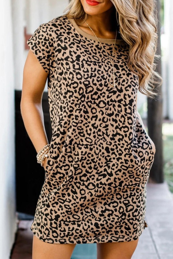 Bomshe O Neck Leopard Print Mini Dress