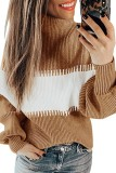 Bomshe Striped Patchwork Khaki Sweater