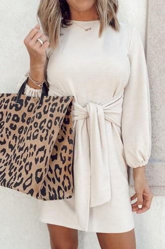 Bomshe Cozy Knot Design White Mini Dress