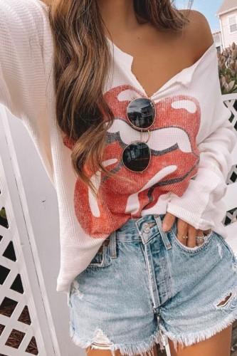 Bomshe Lip Print White T-shirt
