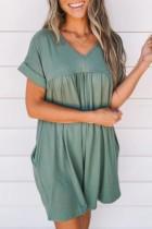 Bomshe V Neck Fold Design Green Mini Dress(2 Colors)