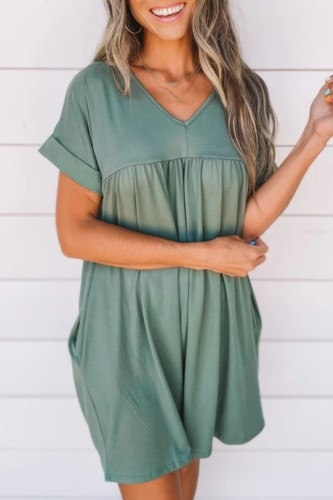 Bomshe V Neck Fold Design Green Mini Dress(2 Colors)