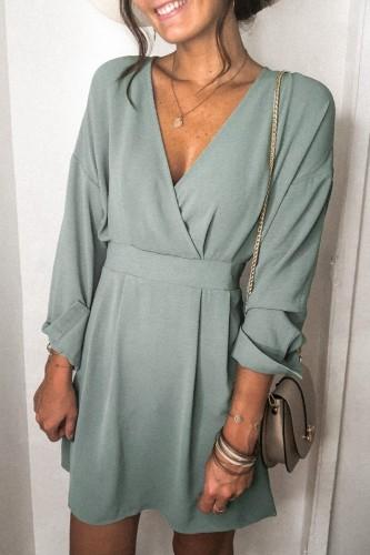 Bomshe Elegant Green Mini Dress