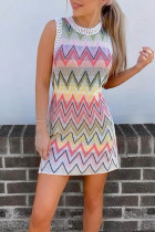 Bomshe Rainbow Striped Multicolor Mini Dress