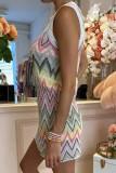 Bomshe Rainbow Striped Multicolor Mini Dress