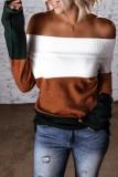 Bomshe Dew Shoulder Color Lump Patchwork Brown Sweater