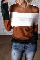 Bomshe Dew Shoulder Color Lump Patchwork Brown Sweater