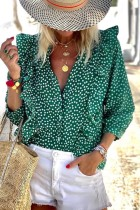 Bomshe Dot Print Flounce Design Green Blouse