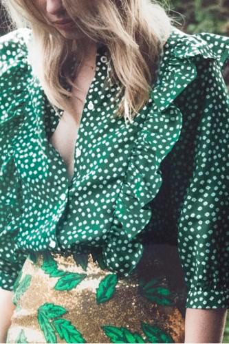 Bomshe Dot Print Flounce Design Green Blouse