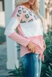 Bomshe Leopard Print Knot Patchwork Pink T-shirt(5 Colors)