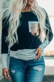 Bomshe Striped Print Patchwork Black T-shirt