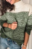 Bomshe Turtleneck Patchwork Green Sweater(3 Colors)