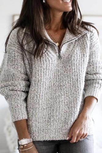 Bomshe Turndown Collar Zipper Design Light Grey Sweater(4 Colors)