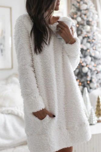 Bomshe Fuzzy Sherpa Fleece Pocket White Mini Dress( 3 Colors)