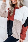 Bomshe Color Lump Patchwork Black Sweater