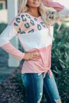 Bomshe Leopard Print Knot Patchwork Pink T-shirt(5 Colors)