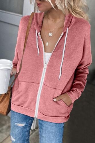 Bomshe Hooded Collar Zipper Design Pink Coat(2 Colors)