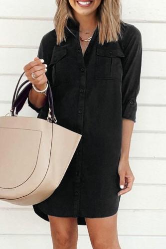 Bomshe Turndown Collar Pocket Patched Black Mini Dress