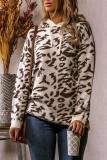 Bomshe Hooded Collar Leoard Print White Sweater
