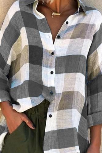Bomshe Turndown Collar Grid Print Purple Shirt (3 Colors)