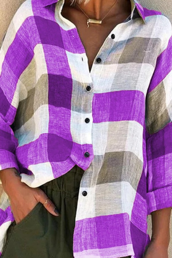 Bomshe Turndown Collar Grid Print Purple Shirt (3 Colors)
