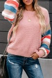 Bomshe Striped Sleeves Patchwork White Sweater(3 Colors)