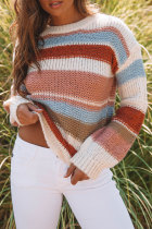 Bomshe O Neck Rainbow Striped White Sweater