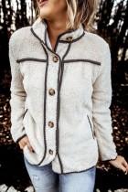 Bomshe Turndown Collar Buttons Design Creamy White Coat(3 Colors)