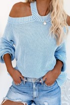 Bomshe  Cold Shoulder Hollow-out Blue Sweater( 2 colors)