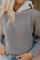 Bomshe Hooded Collar Striped Grey Sweater