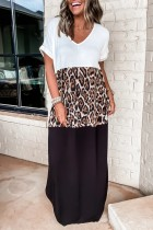 Bomshe Rolled Cut Leopard Print Patchwork White Maxi Dress