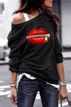Bomshe O Neck Lip Print Black Sweatshirt(3 Colors)