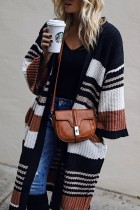 Bomshe Classic Striped Orange Long Cardigan