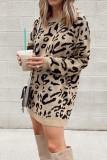 Bomshe O Neck Print Khaki Mini Dress