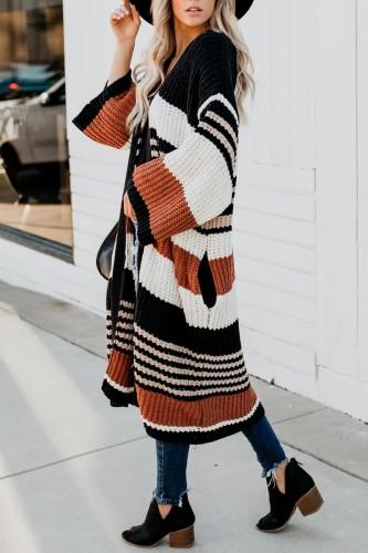 Bomshe Classic Striped Orange Long Cardigan
