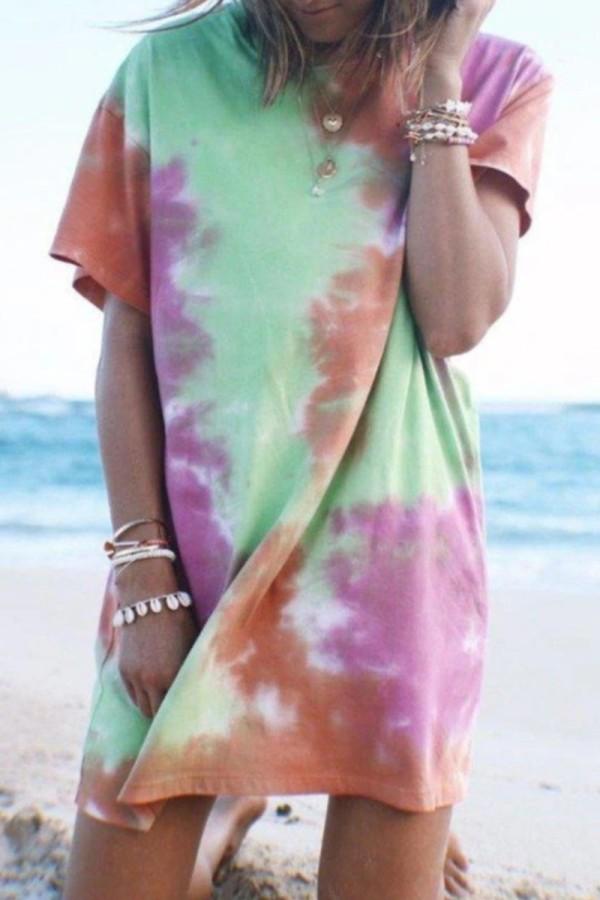 Bomshe Stylish  T-shirt Style Tie-dye Multicolor Mini Dress