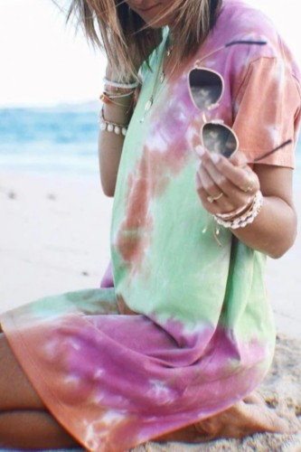 Bomshe Stylish  T-shirt Style Tie-dye Multicolor Mini Dress