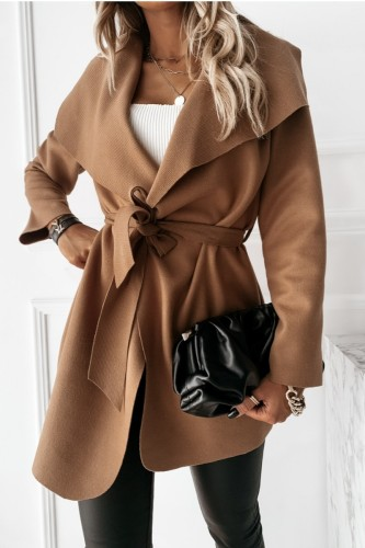 Bomshe Turndown Collar Lace-up Light Tan Long Coat