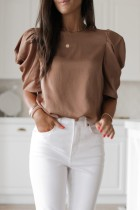 Bomshe Bubble Fold Design Light Tan Blouse