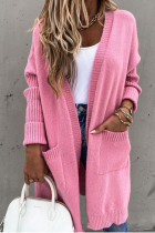 Bomshe Cozy Hooded Collar Pink Cardigan
