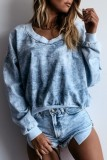 Bomshe Tie-dye Loose Blue Sweatshirt(2 Colors)
