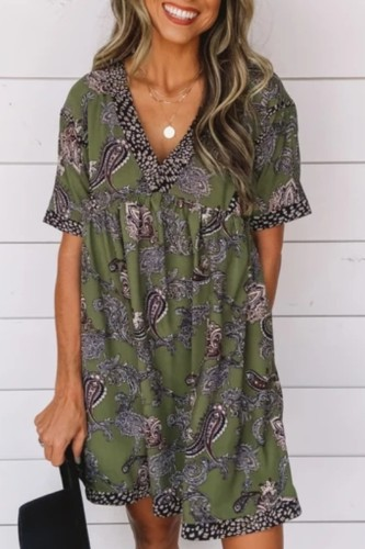 Bomshe Babydoll Print Back Tie Green Mini Dress
