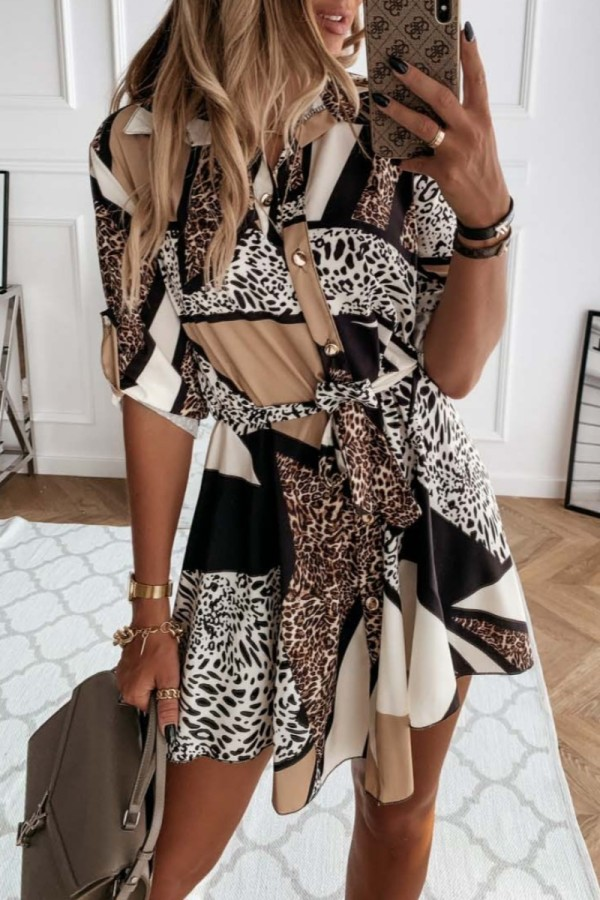 Bomshe Sassy Leopard Print Patchwork Mini Shirt Dress