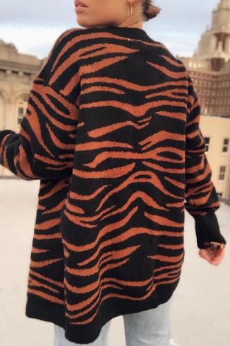 Bomshe Animal Print Striped Buttons Design Orange Cardigan( 2 Colors)