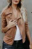 Bomshe Stylish Turndown Collar Zipper Design Khaki Jacket(3 Colors)