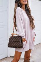 Bomshe Basic Fuzzy Pink Mini Dress