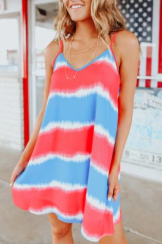 Uniqdress Tie-dye Striped Multicolor Mini Dress