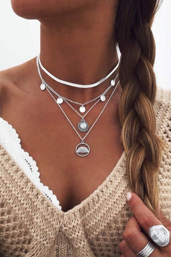 Uniqdress Coin Design Hollow-out Silver Necklace